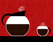 Coffee Pot Prints - Diner Coffee Pot And Cup Red Print by Andee Photography