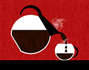 Andee Photography - Diner Coffee Pot And Cup Red Pouring