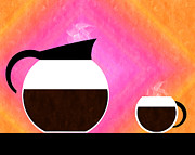 Diner Coffee Pot And Cup Sorbet Print by Andee Design