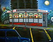 Night Cafe Framed Prints - Diner in Arlington Framed Print by Victoria Lakes
