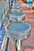 Diner Photos Framed Prints - Diner Stools Framed Print by Kathleen Struckle