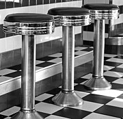 Old Diner Bar Stools Posters - Diner Stools Poster by Lisa  Phillips