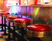 Stools Prints - Diner - v2 - horizontal Print by Wingsdomain Art and Photography