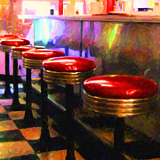Stools Prints - Diner - v2 - square Print by Wingsdomain Art and Photography