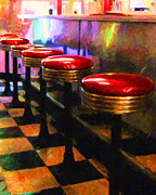Stools Prints - Diner - v2 Print by Wingsdomain Art and Photography