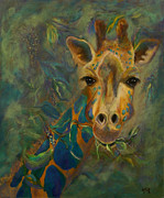 Giraffes Paintings - Diners Delight by Lynn Rattray