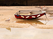 Beached Photos - Dinghy at Low Tide in St Ives Cornwall by Louise Heusinkveld