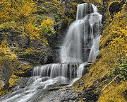 Dingmans Falls Framed Prints - DIngmans Falls In Autumn Framed Print by Stephen  Vecchiotti