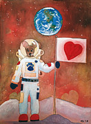 Outer Space Mixed Media Prints - Dingo Love Conquers The Moon Print by Yvonne Lozano