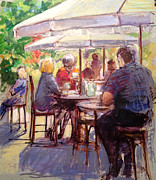 Coffee Drinking Painting Posters - Dining Alfresco Poster by Podi Lawrence