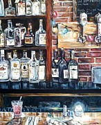 Brick Paintings - Dining at the Bar by Shana Rowe