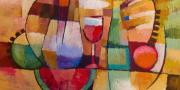 Wine Glass Paintings - Dining by Lutz Baar
