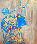 Drawing Pyrography Prints - Dinka Angel Bride - South Sudan Print by Gloria Ssali