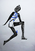 Jesus Drawings - Dinka Silhouette - South Sudan by Gloria Ssali