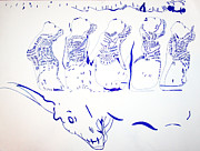 Angels Drawings - Dinka Wise Virgins -South Sudan by Gloria Ssali