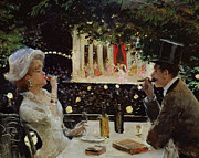 French Wine Bottles Prints - Dinner at Les Ambassadeurs Print by  Jean Beraud