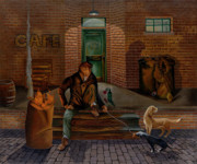 Wine Barrel Paintings - Dinner at Mary-Anns by William Allen