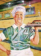 Waitress Posters - Dinner Betty Poster by Linda Vaughon