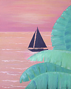 Sailboat Ocean Painting Originals - Dinner Cruise by Debbie Kiewiet