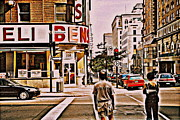 Dinner For Two Ben's Restaurant Downtown Scenes Montreal Memories Corner De Maisonneuve Print by Carole Spandau
