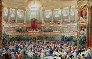 Chandelier Framed Prints - Dinner in the Salle des Spectacles at Versailles Framed Print by Eugene-Louis Lami
