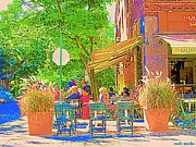 Outdoor Cafes Posters - Dinner On The Terrace Le Murphy Boire Et Manger French Bistro Montreal Cafe Street Scene Poster by Carole Spandau
