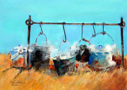 Cattle Drives Prints - Dinner Pots Print by Suzy Pal Powell