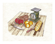 Table Drawings Prints - Dinner preparation Supper Print by Jack Pumphrey