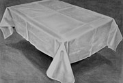 Table Cloth Drawings Metal Prints - Dinner Table Metal Print by Steven Peters