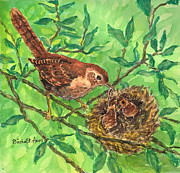 Baby Bird Painting Prints - Dinner Time Print by Barbel Amos