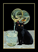 Cat Eyes Pyrography Prints - Dinner Time Print by Lawrence Graves