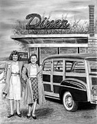 1946 Woody Wagon Drawings - Dinner with the Girls by Peter Piatt