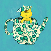Cute Cat Digital Art Posters - Dinnerware sets kitten in a teapot Poster by Budi Satria Kwan