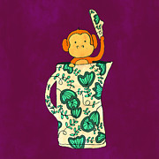 Monkey Prints - Dinnerware sets monkey in a jug Print by Budi Satria Kwan