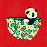 Drawn Prints - Dinnerware sets Panda in a bowl Print by Budi Satria Kwan