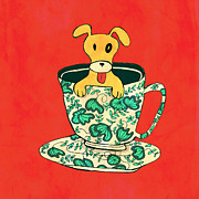 Utensils Posters - Dinnerware sets puppy in a teacup Poster by Budi Satria Kwan