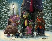 Snowy Night Night Digital Art Prints - Dinosaur Carol Singers Print by Martin Davey