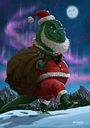 Comic Dinosaurs Prints - Dinosaur Christmas Santa out in the snow Print by Martin Davey