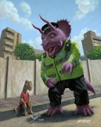 Pavement Digital Art Prints - Dinosaur Community Policeman helping youngster Print by Martin Davey