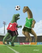 Cartoon Dinosaurs Prints - Dinosaur Football Sport Game Print by Martin Davey