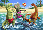 Green Dinosaur Posters - dinosaur fun playing Volleyball on a beach vacation Poster by Martin Davey