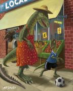 Kicking Posters - Dinosaur Mum Out Shopping With Son Poster by Martin Davey