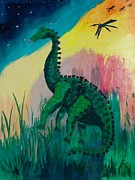 Horse And Buggy Painting Posters - Dinosaur Poster by PainterArtist FIN