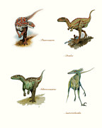 Aquarelle Framed Prints - Dinosaurs Illustration Poster Framed Print by World Art Prints And Designs