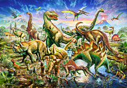 Vertebrates Prints - Dinoscene   Print by Adrian Chesterman