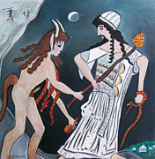 Serfinski Painting Originals - Dionysus and Pan by Karen Serfinski