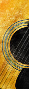 Guitars Mixed Media - Diptych Wall Art - Macro - Gold Section 1 of 2 - Vikings Colors - Music - Abstract by Andee Photography