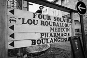 Boulangerie Prints - Direction Signs In The Old Town Of Mont-louis Pyrenees-orientales France Print by Joe Fox