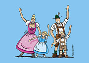 Frank Ramspott Framed Prints - Dirndl And Lederhosen Family Waving Hands Framed Print by Frank Ramspott