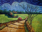 Shed Paintings - Dirt Road Shed and Clouds by Robert Holewinski